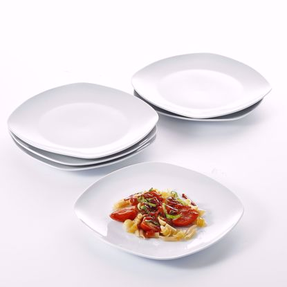 "Picture of Malacasa, Series Elisa, 6-Piece 9.75"" Cream White Ceramic Round Dinner Plates Porcelain Dessert Dishes Dinnerware Set (24.6x24.6x2.5cm)"