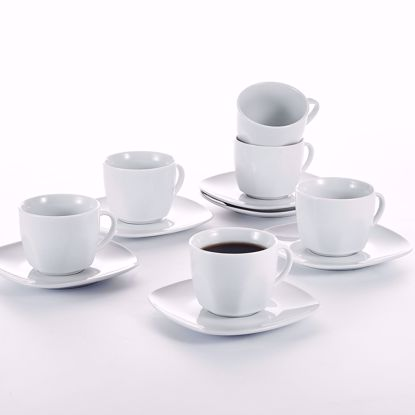Picture of Malacasa, Series Elisa, 12-Piece Porcelain China Ceramic Cream Ivory White Drinkware Set for Tea Coffee Espresso with 6-Piece Cups 6-Piece Saucers Service Set for 6