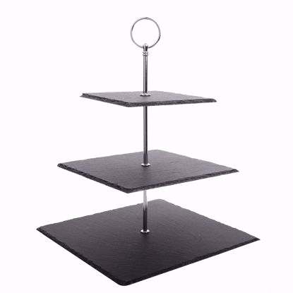 "Picture of Malacasa Series Sweet Time, 3 Tier Natural Slate Cake Stand Square Stone Tea Party Server Serving Set with Silver Carry Handle, 10"" W"