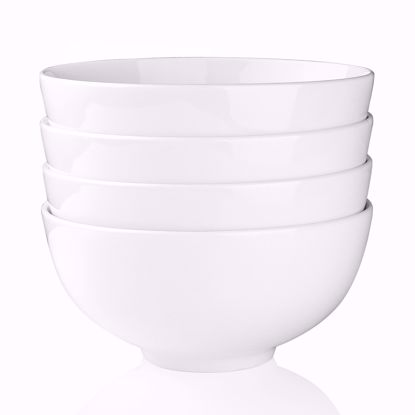 "Picture of Malacasa Series Regular, 4-Piece Ivory White Porcelain Soup Noodle Pasta Dessert Bowl Set, 7""/42.5oz"