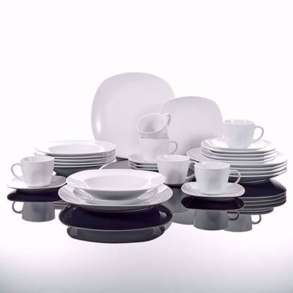 Picture of Malacasa, Series Elisa, 30-Piece Ivory White Porcelain Dinner Set with 6-Piece Cups 6-Piece Saucers 6-Piece Dessert Plates 6-Piece Soup Plates and 6-Piece Dinner Plates Service Set for 6