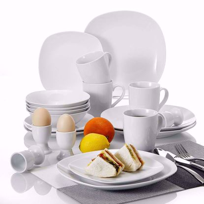 Picture of Malacasa, Series Elisa, 20-Piece Ivory White Porcelain Dinner Set with 4*Dinner Plate 4*Soup Bowl 4*Dessert Plate 4*Egg Cup 4*Mug, Service For 4