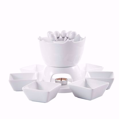 Picture of Malacasa Series Favor, Two-layer Ceramic Porcelain Tealight Candle Cheese Butter Chocolate Fondue Set with 6 Dipping Bowls 6 Forks, Ivory White