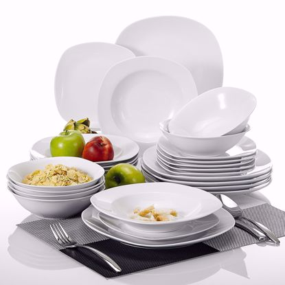 "Picture of Malacasa, Series Elisa, 24-Piece Cream White Porcelain Dinner Sets with 6-Piece 6.7"" Cereal Bowls, 6-Piece 7.5"" Pasta Plates, 6-Piece 8.5"" Deep Soup Plates and 6-Piece 9.75"" Dinner Plates Combination Set"