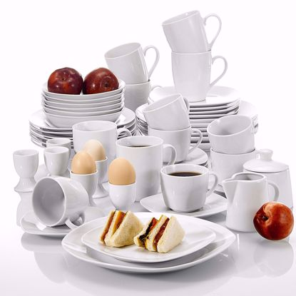 Picture of Malacasa, Series Elisa, 50-Piece Cream White Porcelain Dinner Set with 6-Piece Cups 6-Piece Saucers 6-Piece Mugs 6-Piece Egg Cups 6-Piece Cereal Bowls 6-Piece Dessert Plates 6-Piece Soup Plates 6-Piece Flat Plates