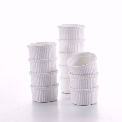 "Picture of Malacasa 2.75"" (3.4oz) Porcelain Ramekins Dipping Bowls, Ivory White Souffle Baking Dish, Set of 12"